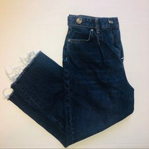 We The Free Button Straight Leg Frayed Jeans